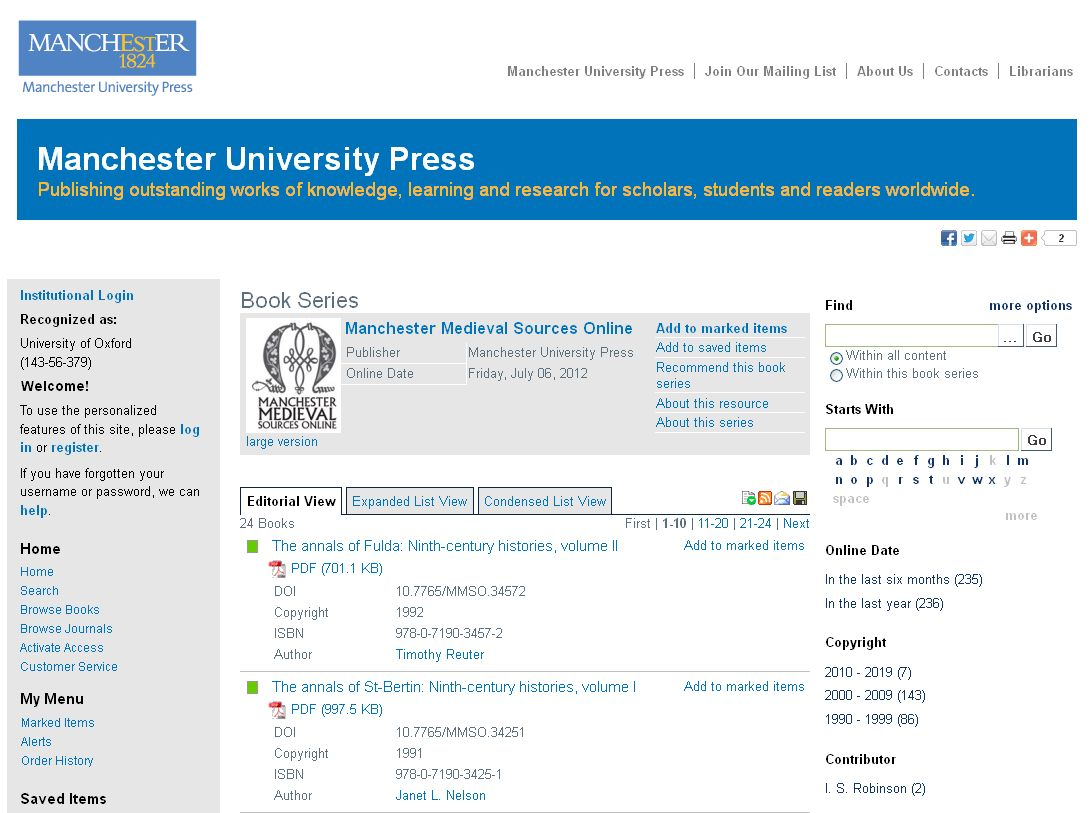 Manchester Medieval Sources Online