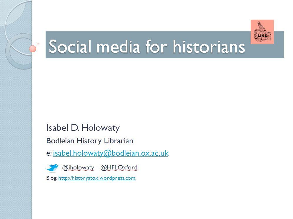 Social media for historians - presentation cover