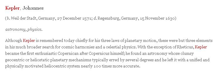 Dictionary of Scientific Biography - Kepler