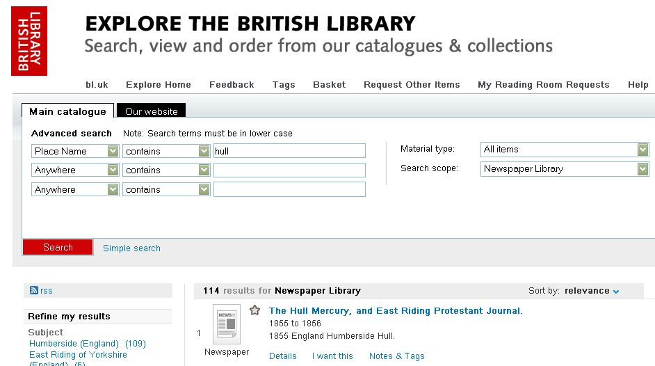 Explore BL newspaper place search