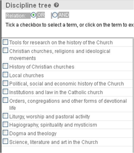 Index Religiosus - Disciplines