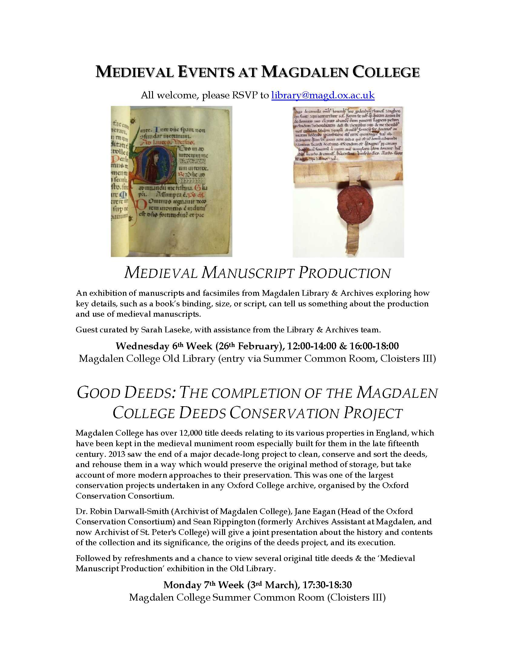 Medieval Events at Magdalen College, 26/02/14 and 03/03/14