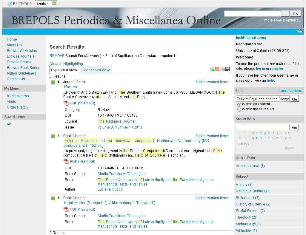 Brepols Miscellanea Online - screenshot