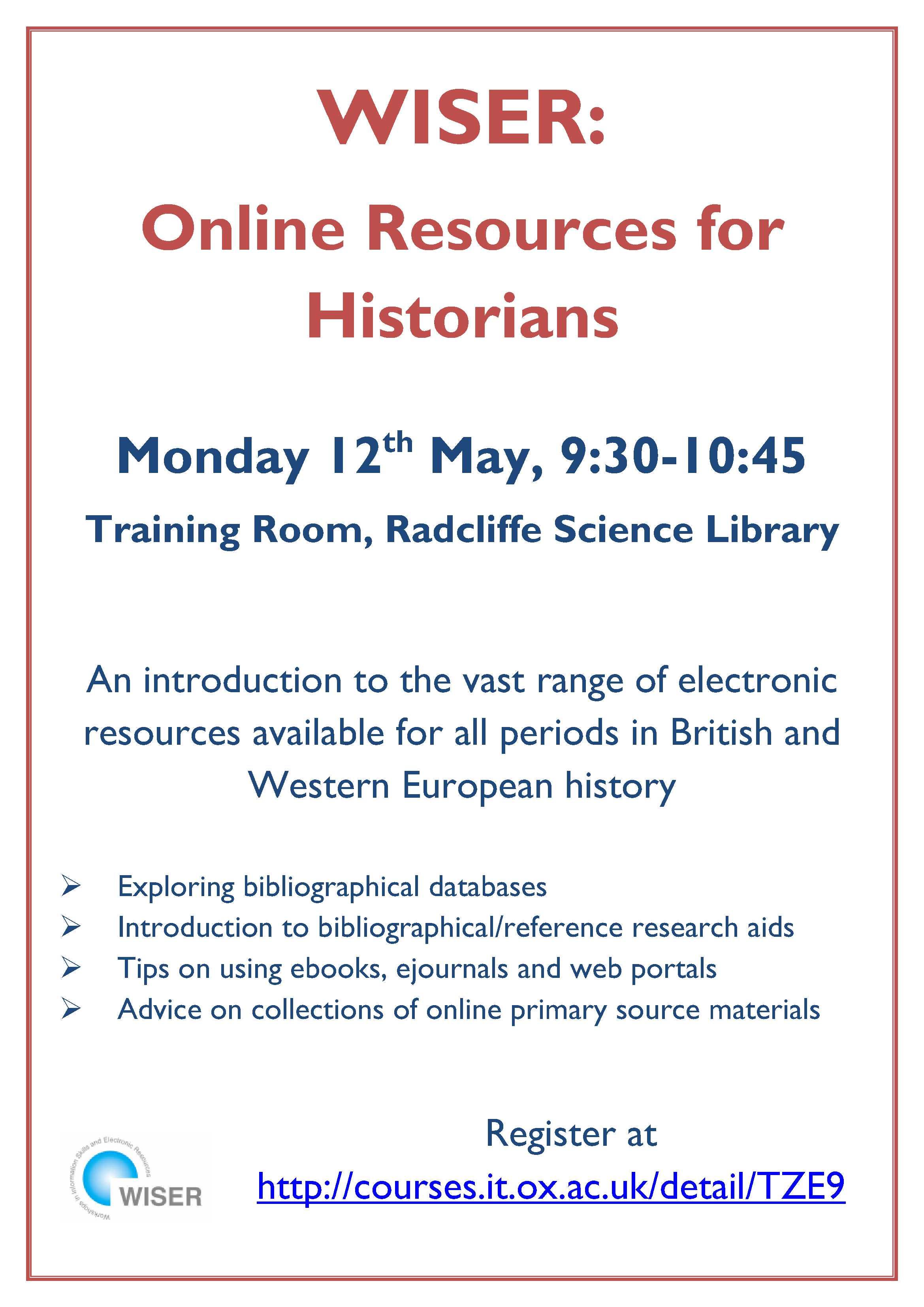 WISER Online Resources poster