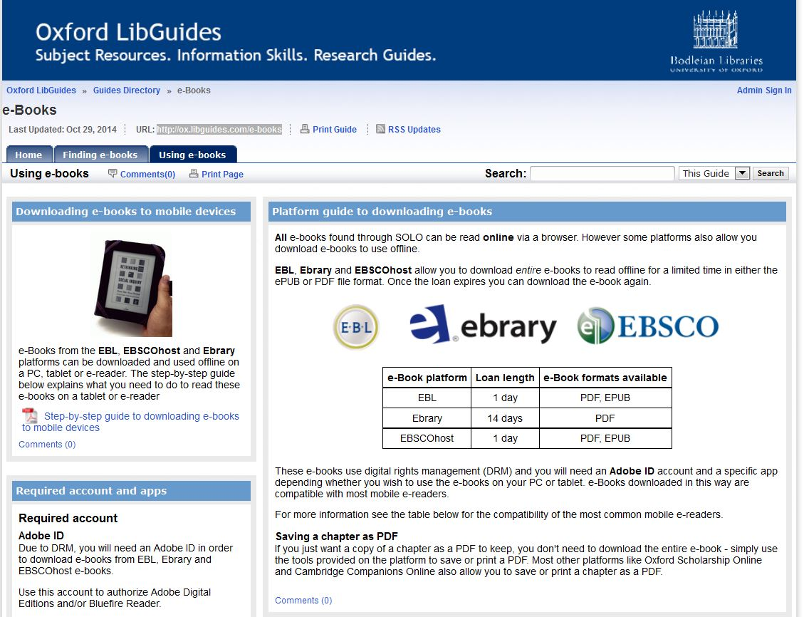 ebook LibGuide screenshot