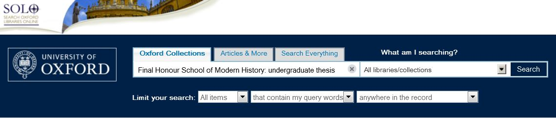 Dissertation oxford university library