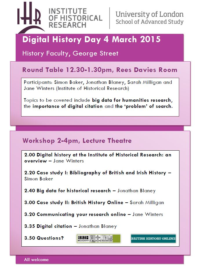 IHR Digital History Day 4 March - poster
