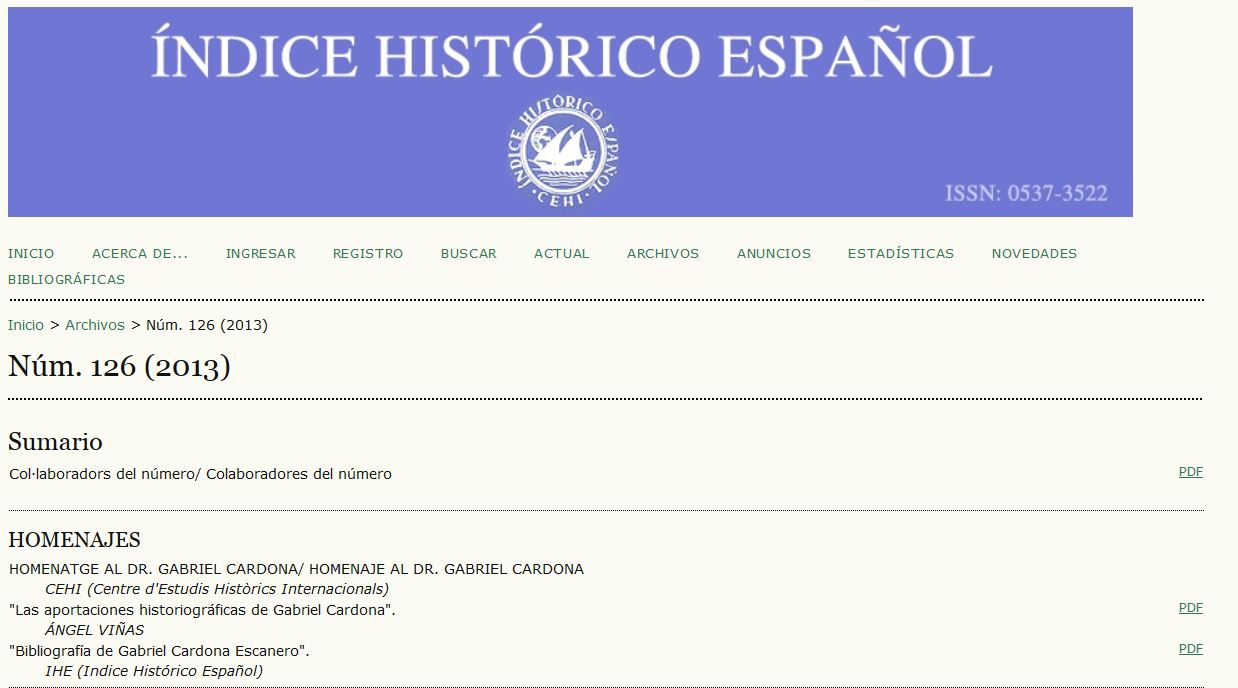 Indice Historico Espanol - screenshot
