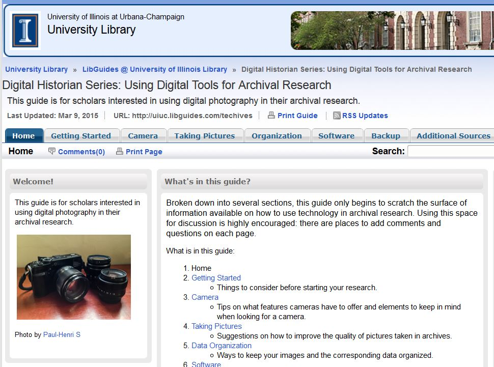 Illinois guide on digital tools for archival research