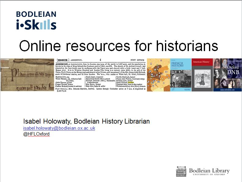 iskills Online resources for historians - screenshot