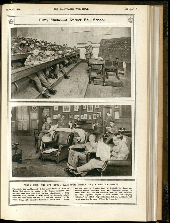 The Illustrated War News 93 p7 May 1918 - Army Music at Kneller Hall School (Proquest: Trench Journals and Unit Magazines of the First World War)