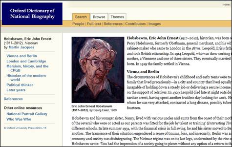 Eric Hobsbawm snippet in ODNB