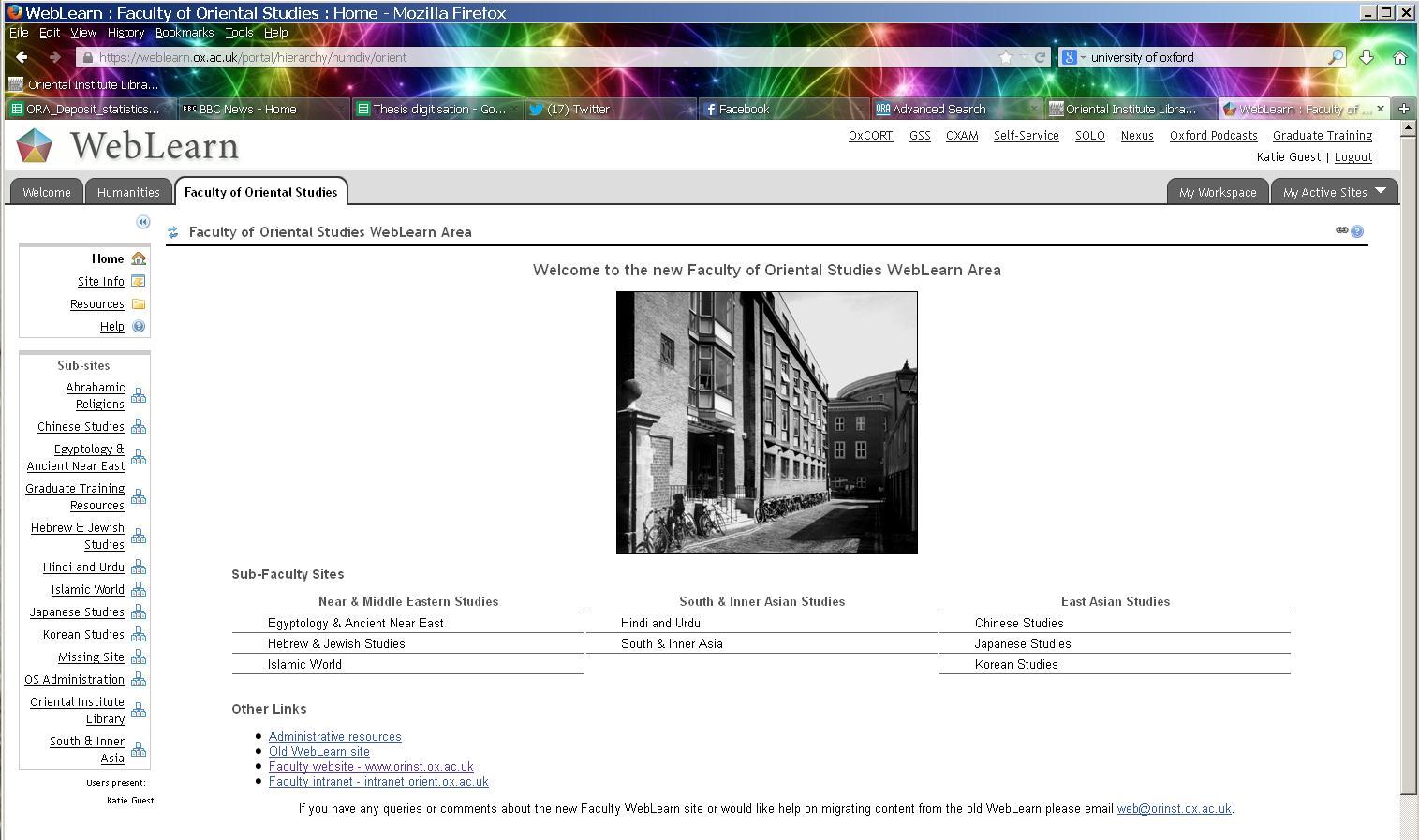 Weblearn screenshot