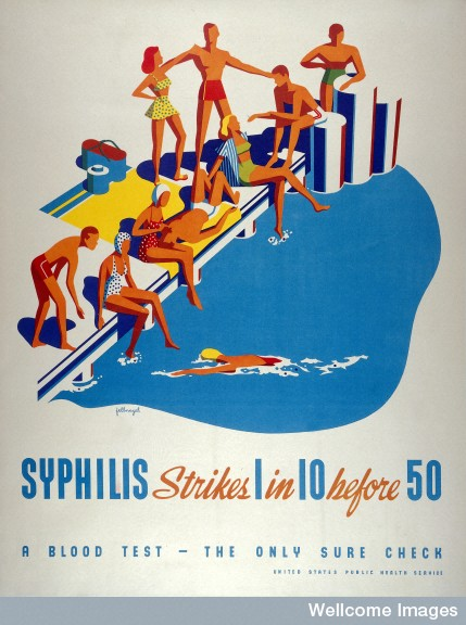 Ten people at a swimming pool, one of whom will be infected
