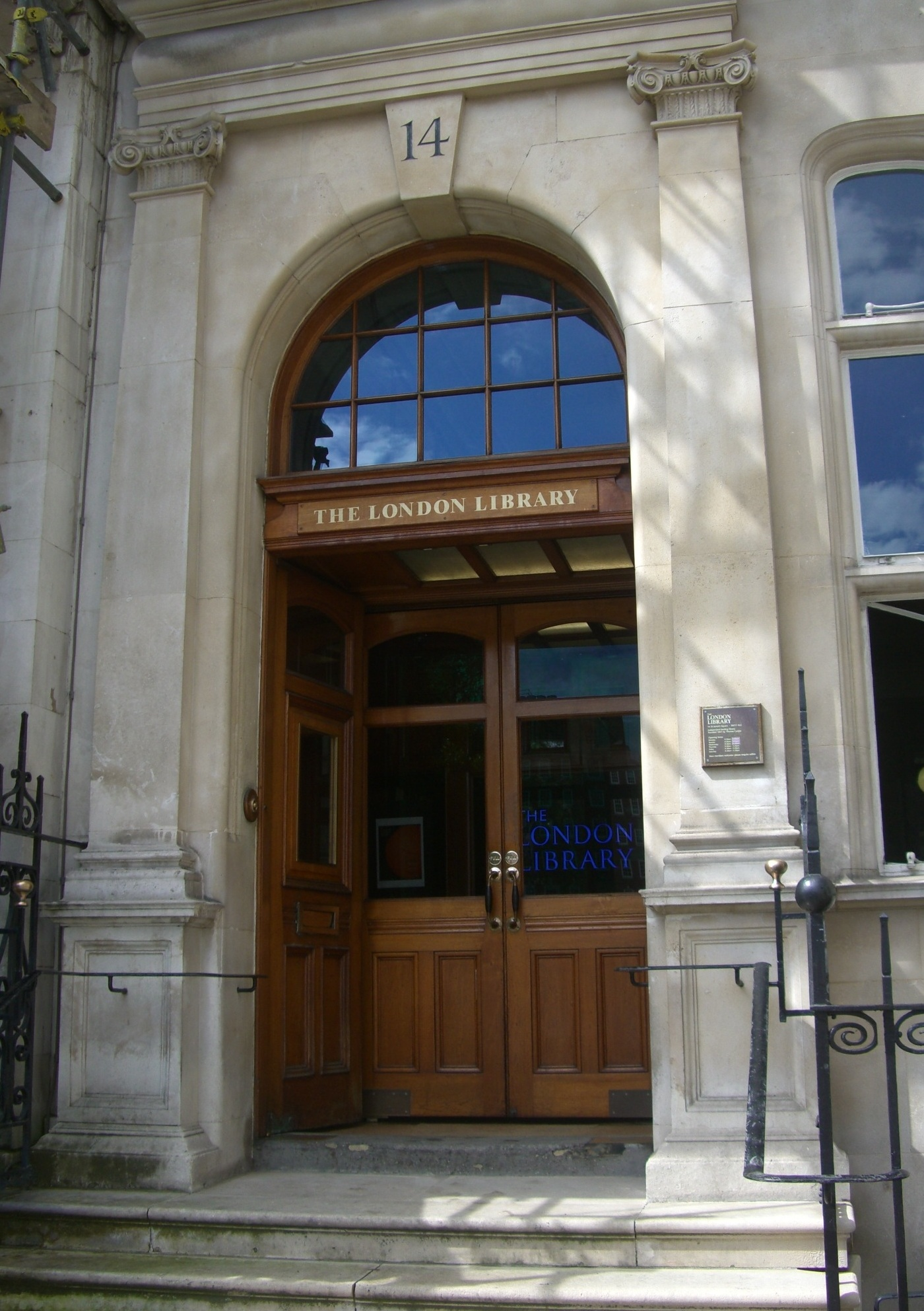 The entrance to the London Library - 14 St James's Square