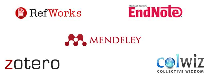 Logos of RefWorks, EndNote, Mendeley, Zotero and Colwiz