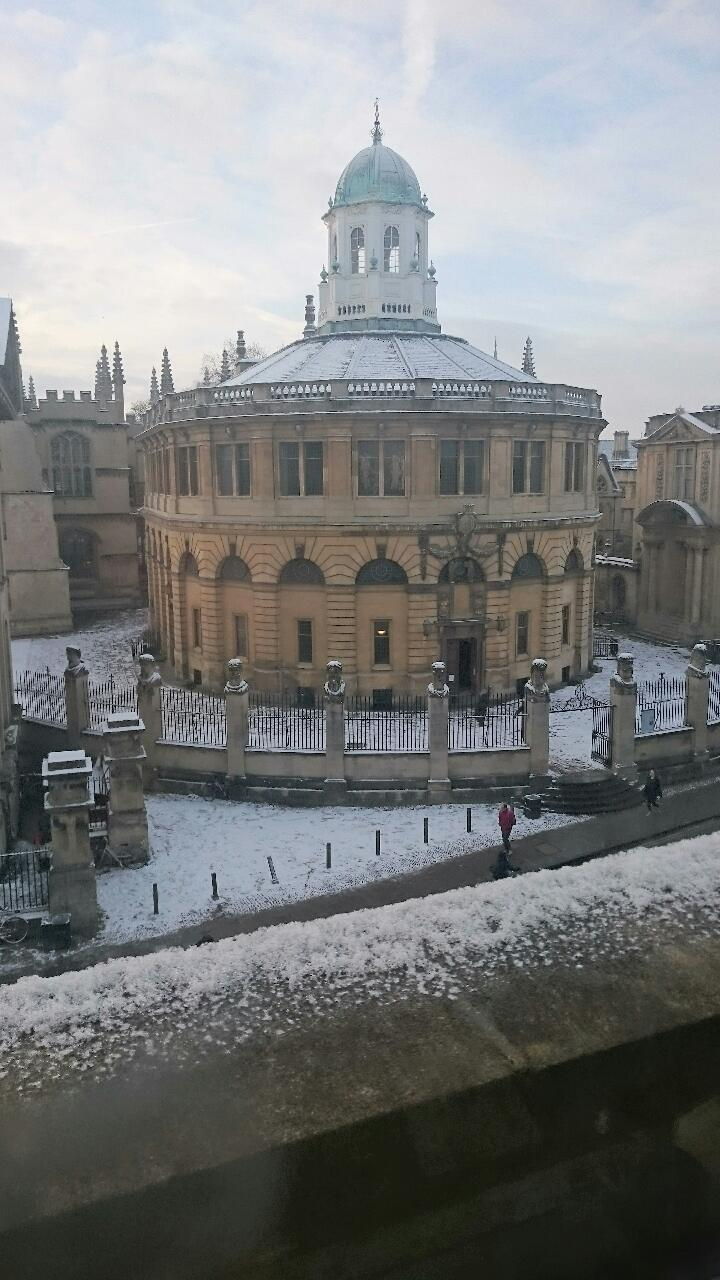 An office with a view. The Sheldonian Theatre in snow.