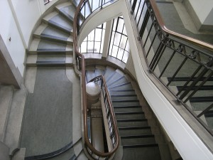 One of two staircases connecting the ground floor with the Enquiry Desk, Main Reading Room and Main Stack of the Research Collection. (Image courtesy of the Taylor Institution Library)