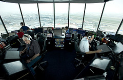 photo of the inside of Heathrow air traffic control tower