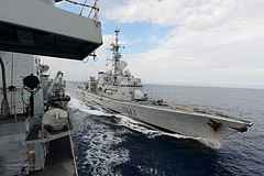 French Ship Jean de Vienne Approaching HMS Northumberland (from the UK MOD's Flicker Photostream)