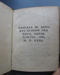 Colophon, Psalterium Hebraicum (Basle: Johann Froben, 1523)