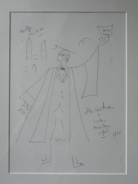 Cocteau's sketch of himself with his Oxford degree (Photo credit: David Thomas)