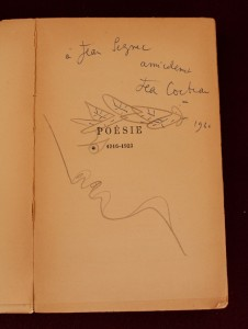 Jean Cocteau Poésie 1916-1923 (Paris: Gallimard, 1947): Half title page, with Cocteau's sketch and dedication to Jean Seznec (Photo credit: James Legg)