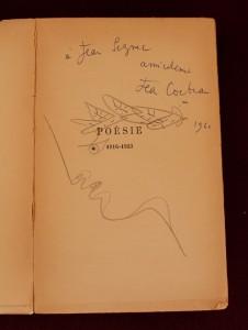 Jean Cocteau Poésie 1916-1923 (Paris: Gallimard, 1947): Half title page, with Cocteau's sketch and dedication to Jean Seznec (Photo credit: James Legg)
