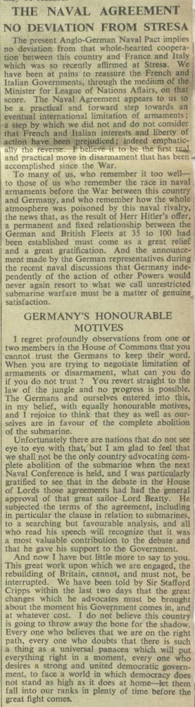 75 Years Ago Todaye Anglo German Naval Agreement 1935 Archives