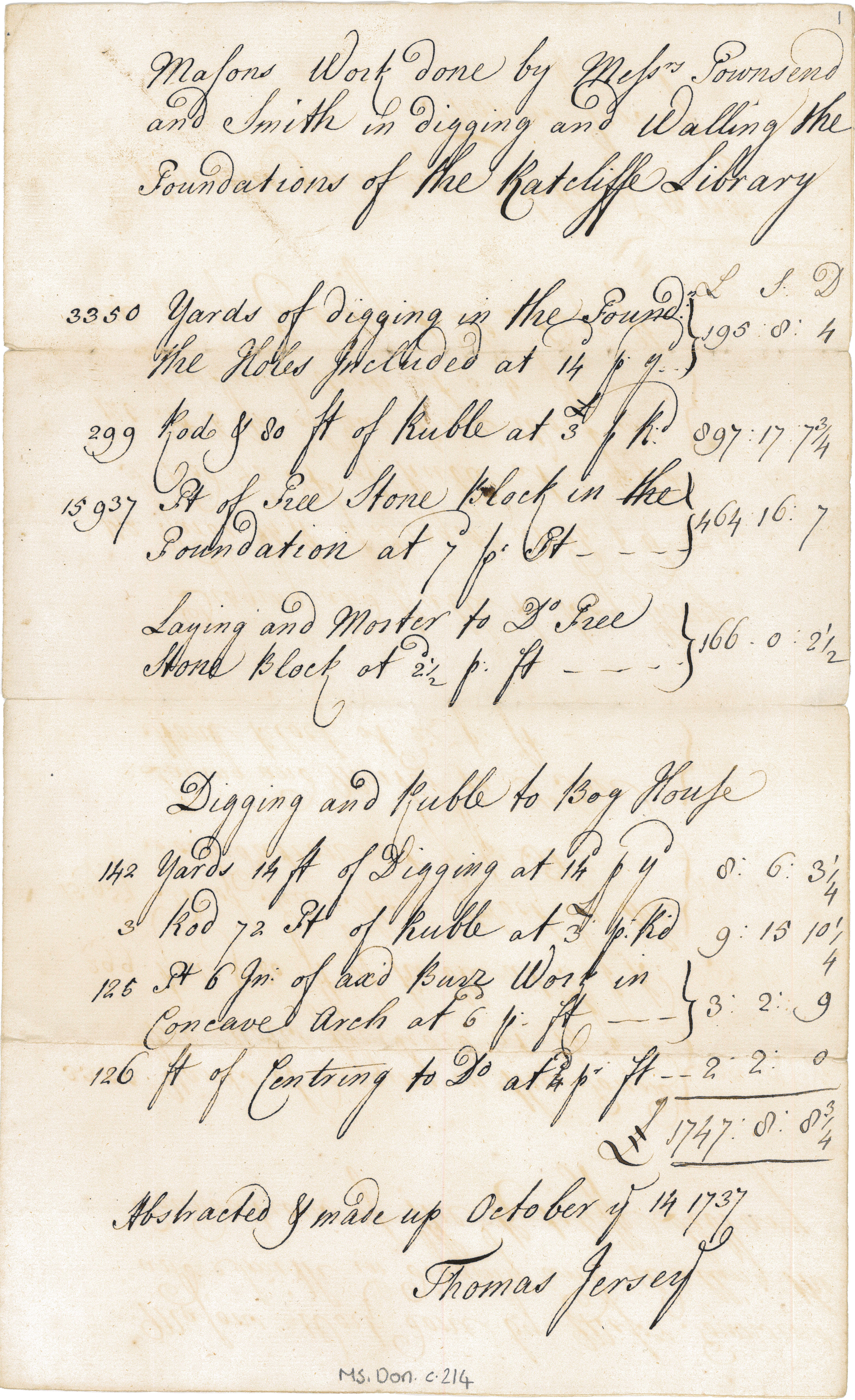 Abstract for the digging and walling of the foundations of the Radcliffe Library, 1737