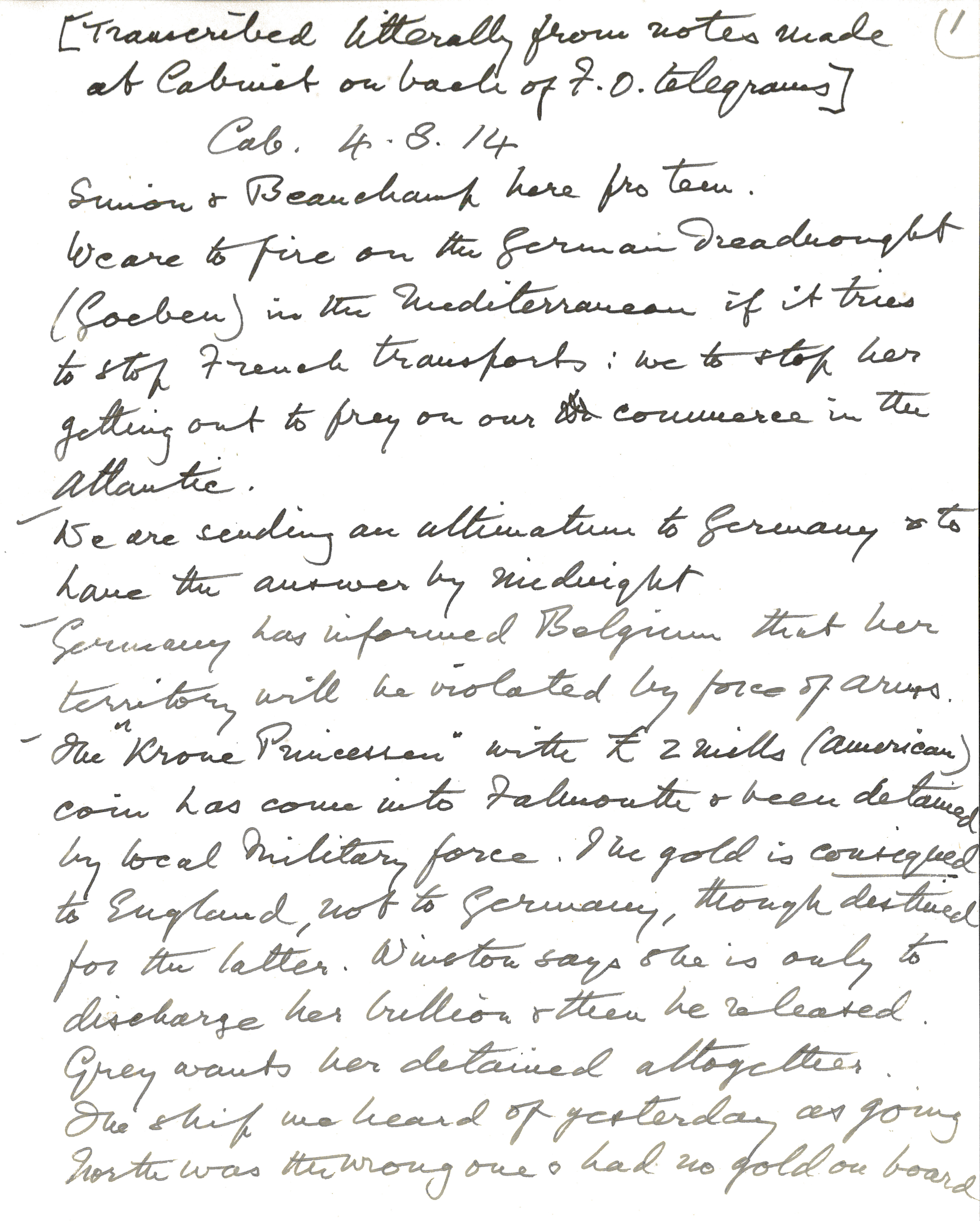 Entry from the political journal of Lewis Harcourt concerning the outbreak of the First World War, 4 August 1914.