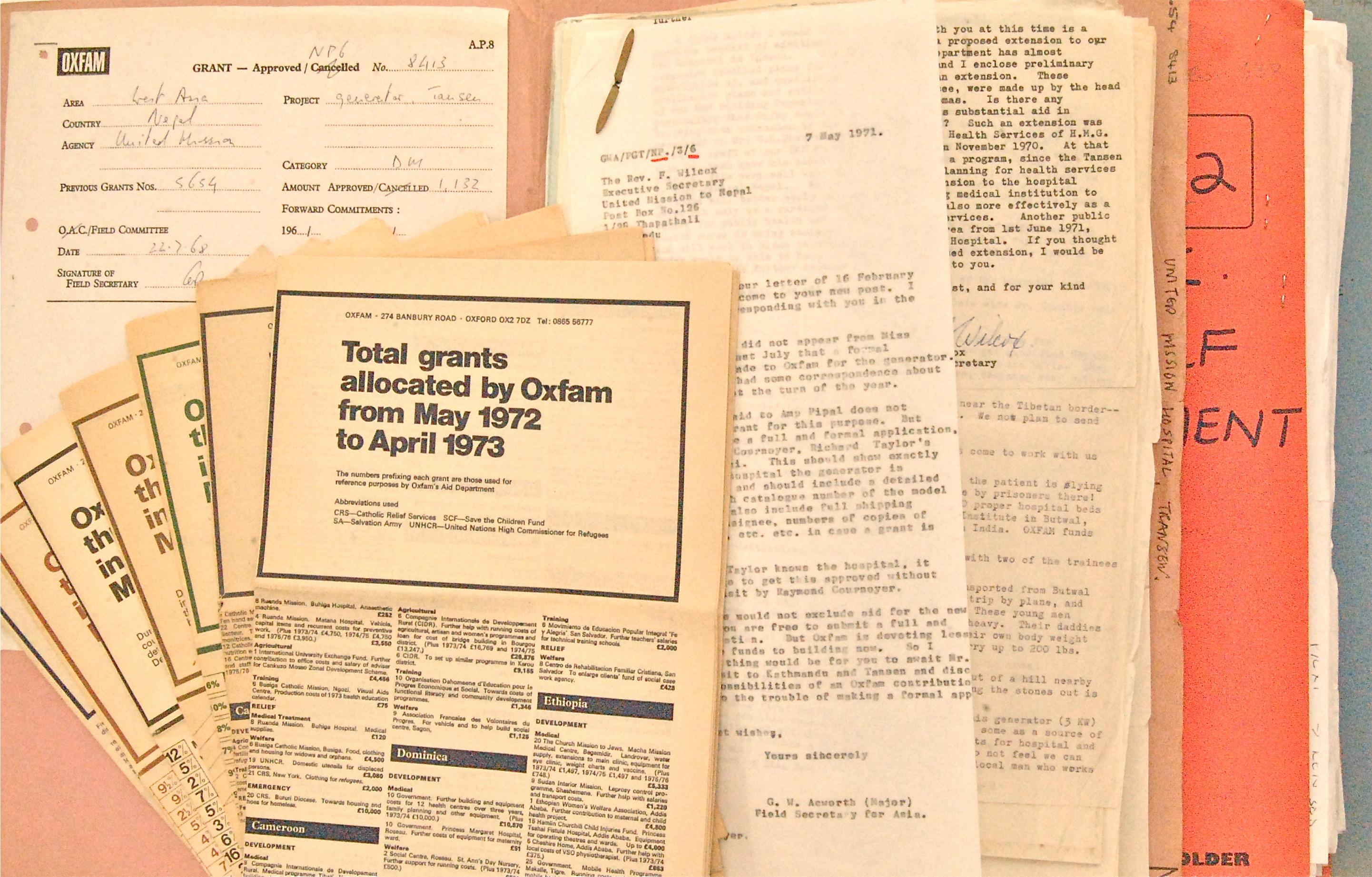 File relating to a grant made in 1968 to the United Mission Hospital, Tansen, Nepal, and published annual lists detailing grants made (Oxfam Archive, Bodleian Library)