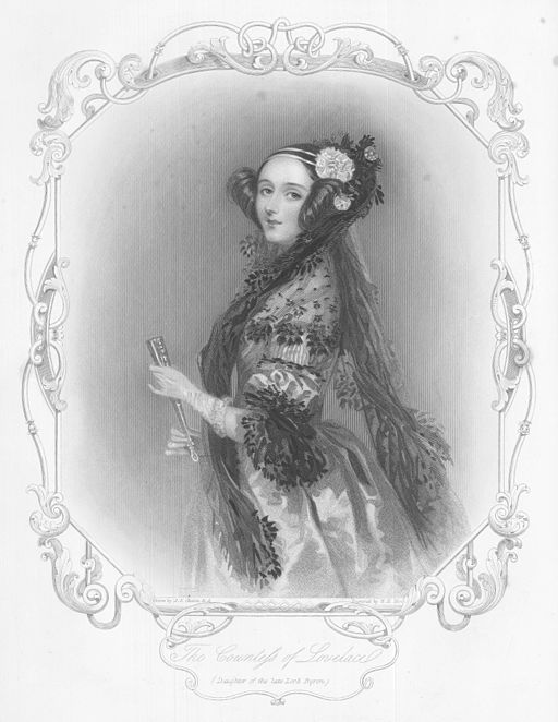 An engraved portrait of Augusta Ada King, Countess of Lovelace.