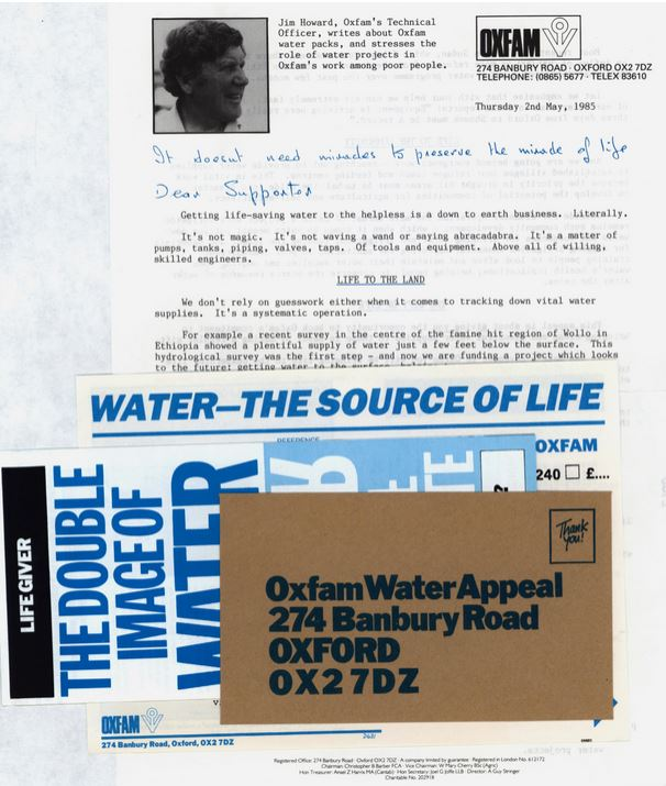 An appeal for regular donations sent out to supporters of Oxfam, featuring Jim Howard, 1985. Oxfam Archive, Bodleian Libraries, MS Oxfam APL/3/6/6 Folder 2