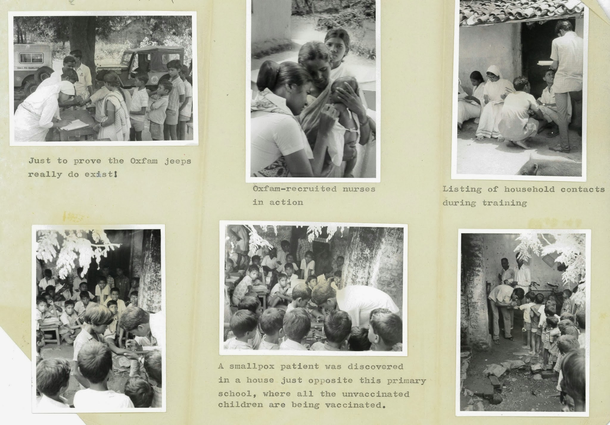 Oxfam jeeps and vaccination teams at work, 1974 (MS. Oxfam PRF BIH 014 Vol. 1 = Box 101)