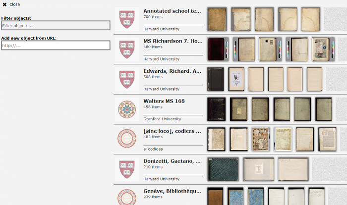 The Biblissima Project is a hub for digital humanities projects in France that is focused on the written cultural heritage of the Middle Ages and the Renaissance. They have an implementation of Mirador that currently shows content hosted at multiple institutions and will, increasingly, provide access to French content.