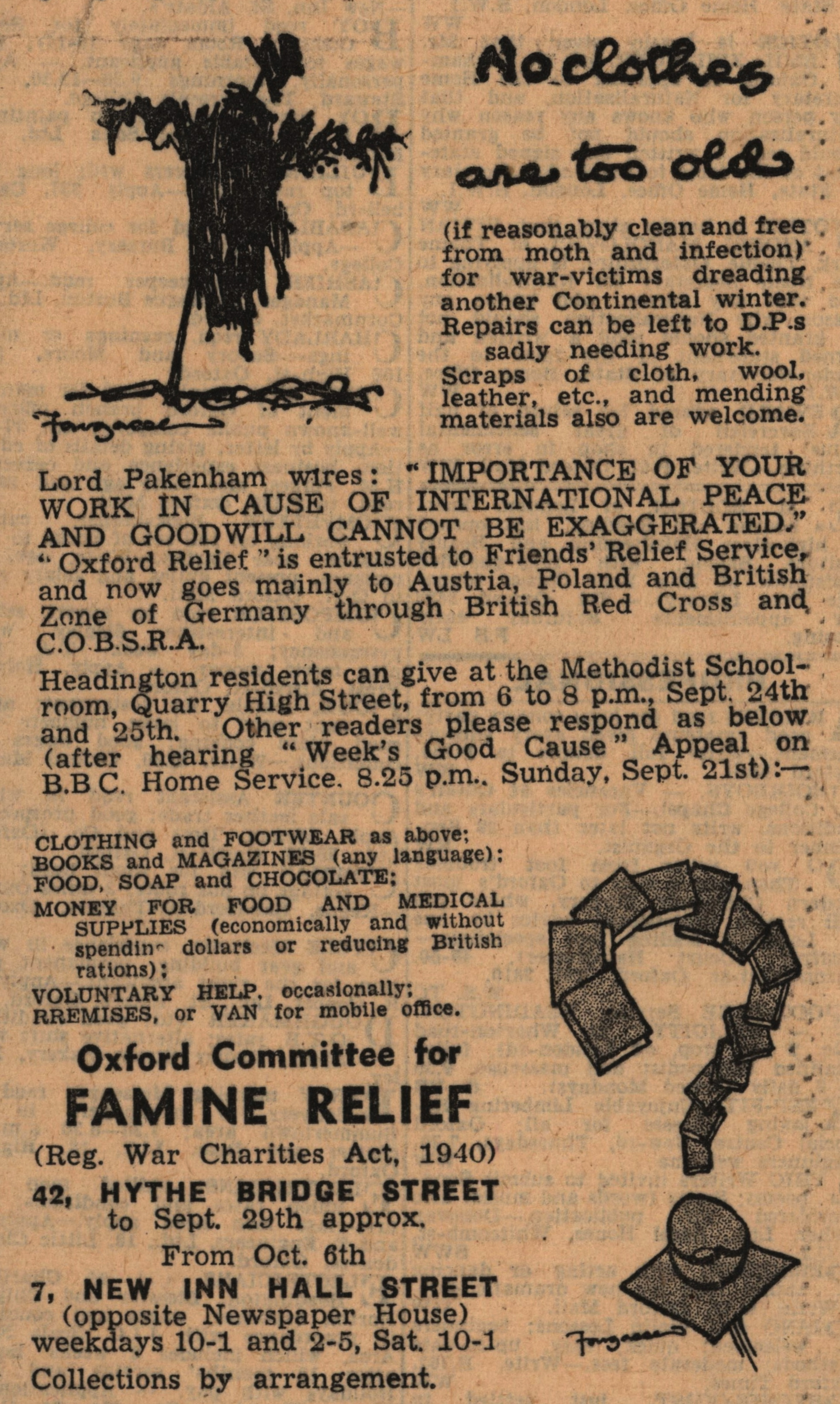 Oxfam advertisement, Oxford Mail, 1947