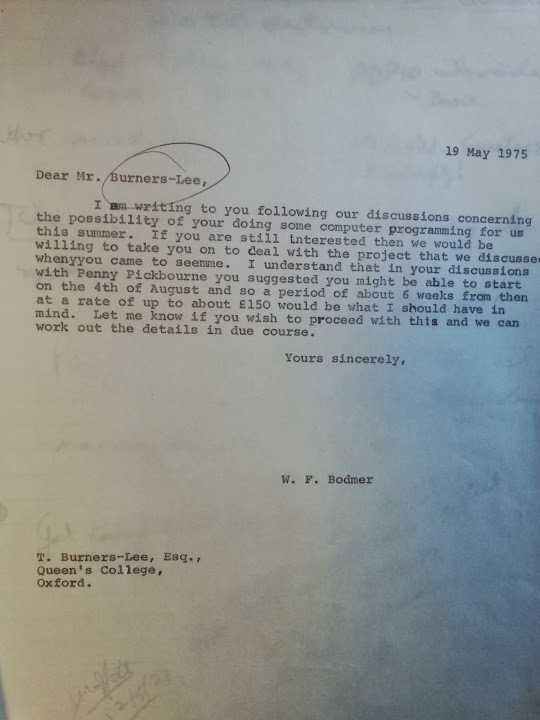 Letter from Bodmer to Berners Lee