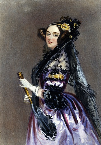 Watercolor portrait of Ada King, Countess of Lovelace. Alfred Edward Chalon, 1840.
