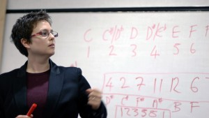 A photo of Emily Howard explaining numbers into notes