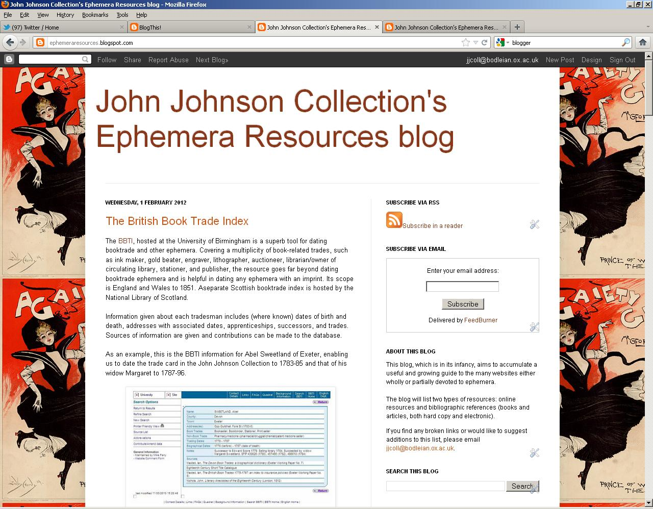 JJ Ephemera Resources blog at Feb 1 2012