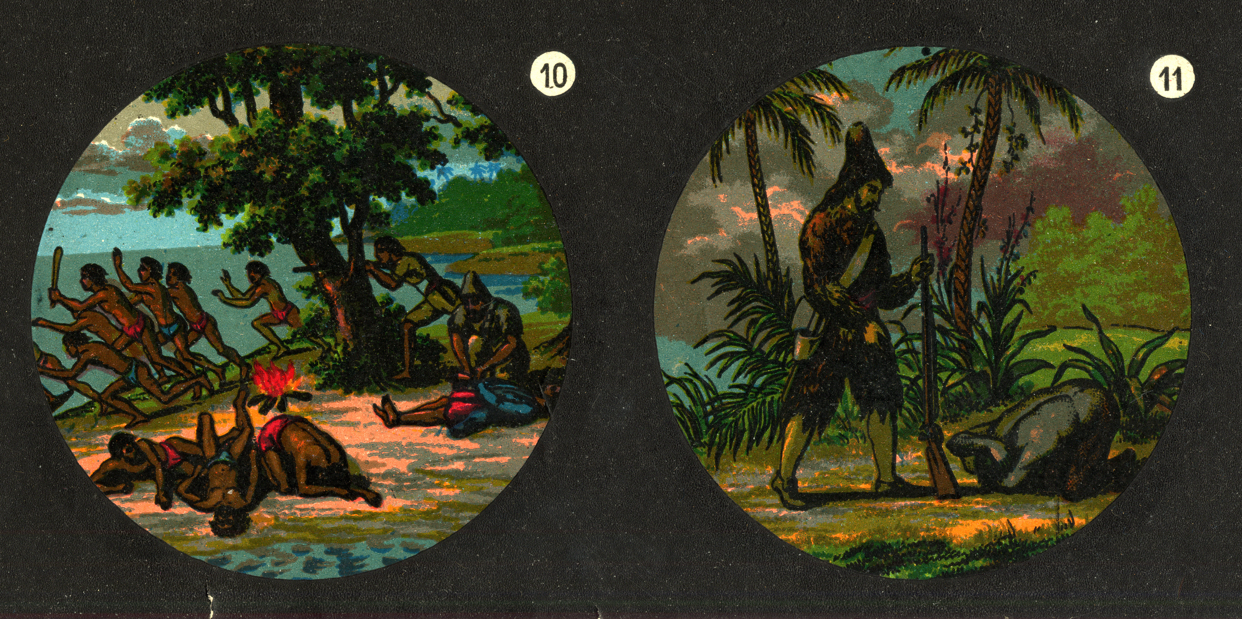 Detail of Robinson Crusoe sheet showing slides 10 and 11