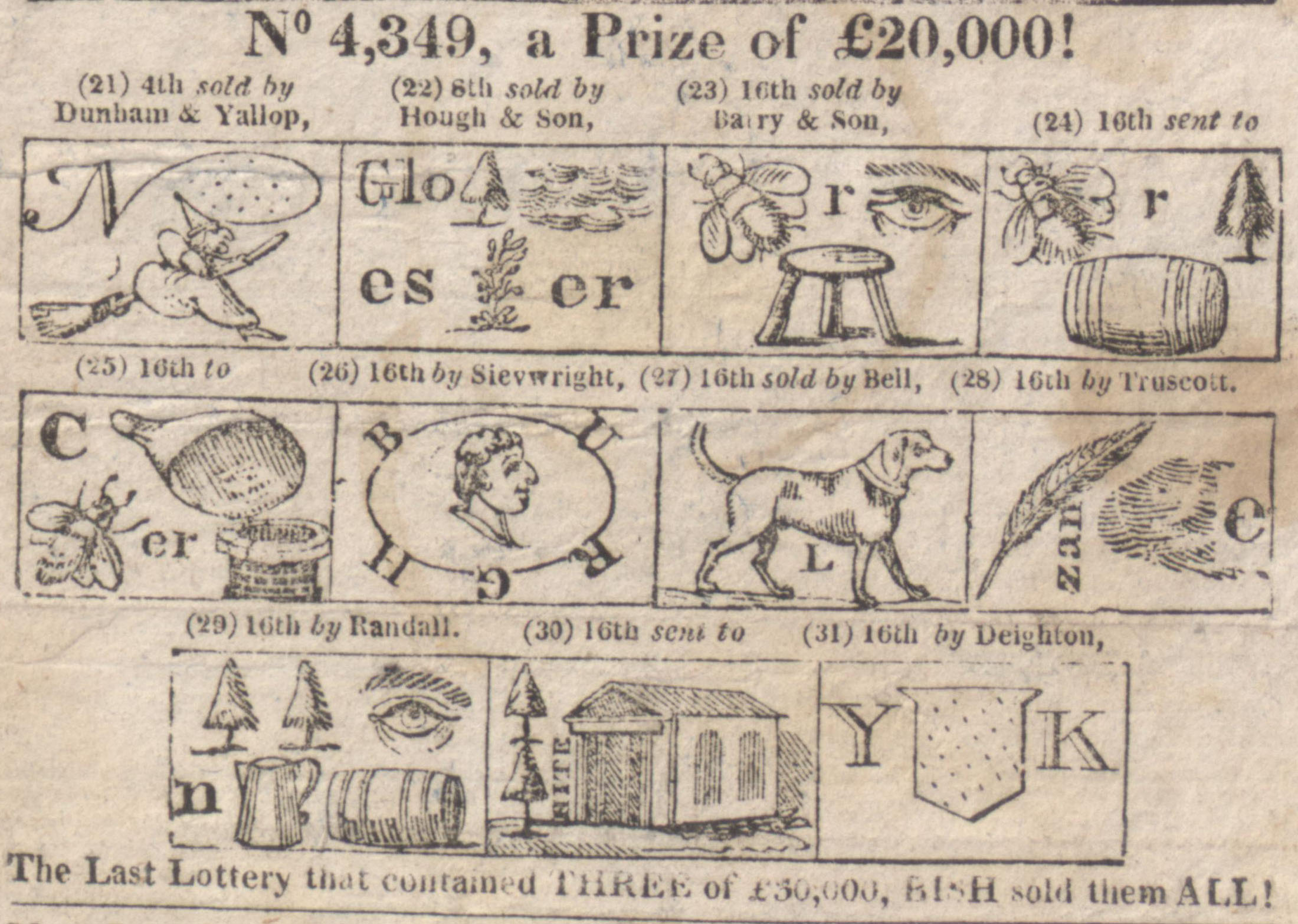 Detail of hieroglyphical Lottery bill