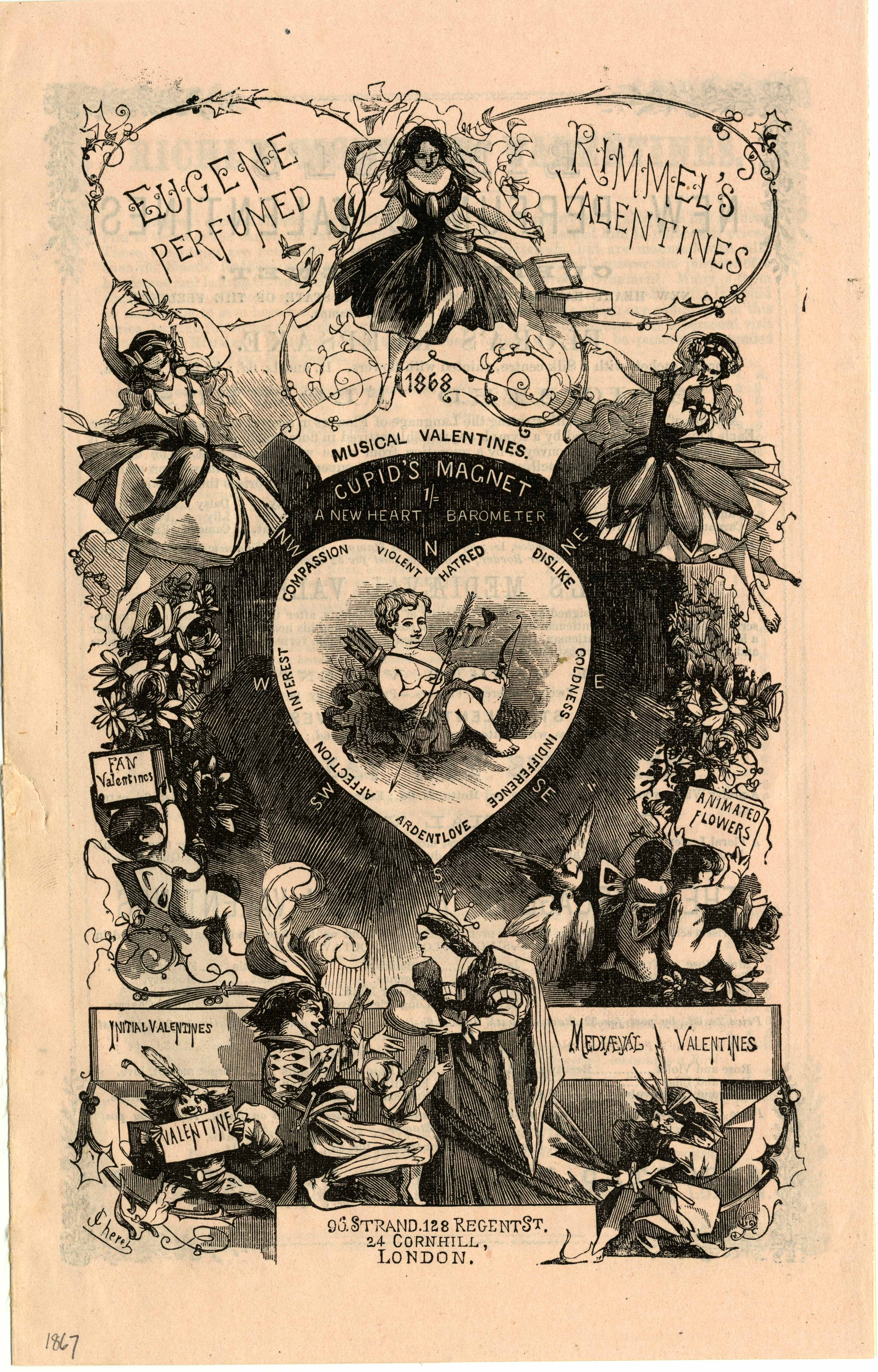 Front page of Rimmel's 1867 valentine advertisement