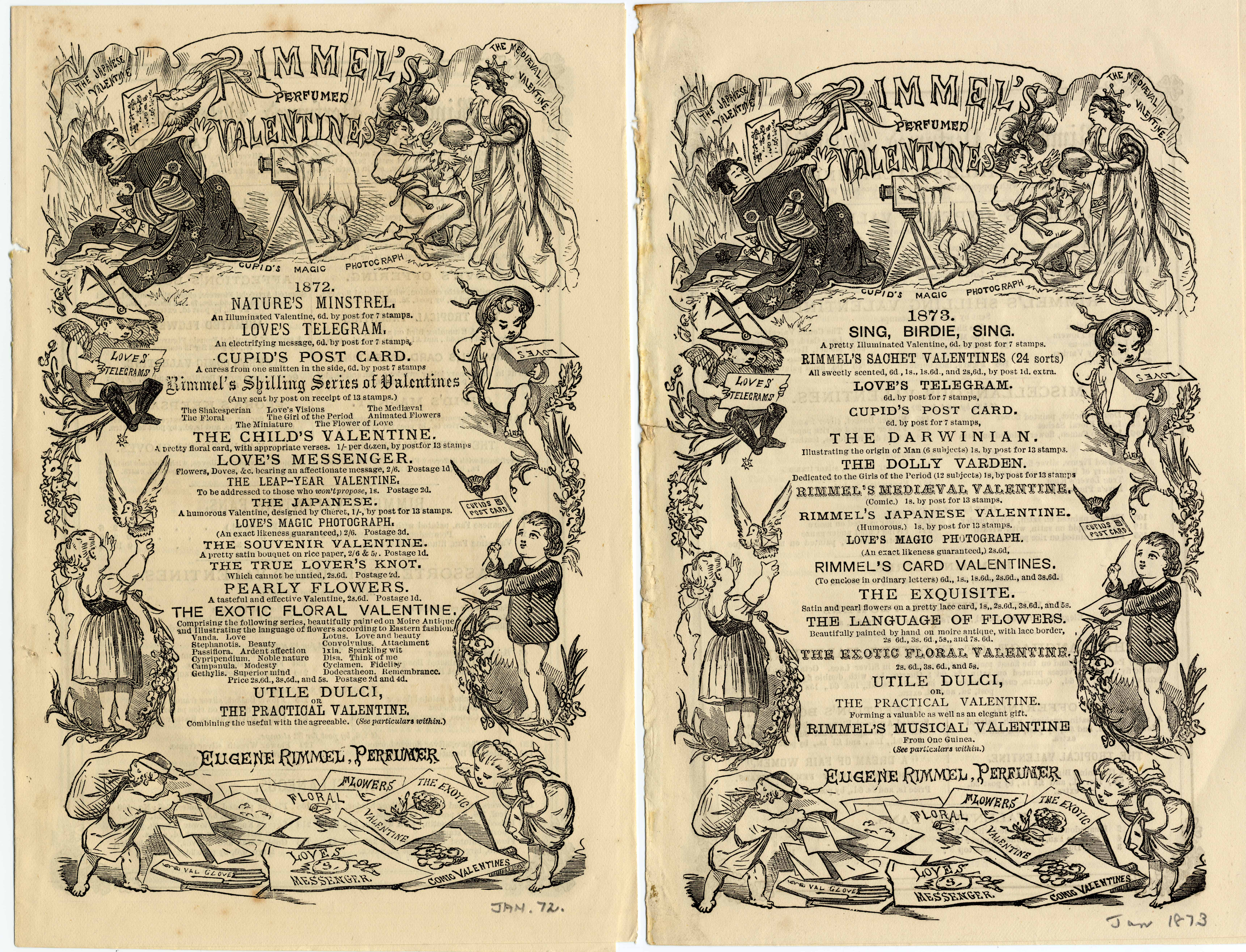 Covers of two Rimmel advertising leaflets, 1872 and 1873