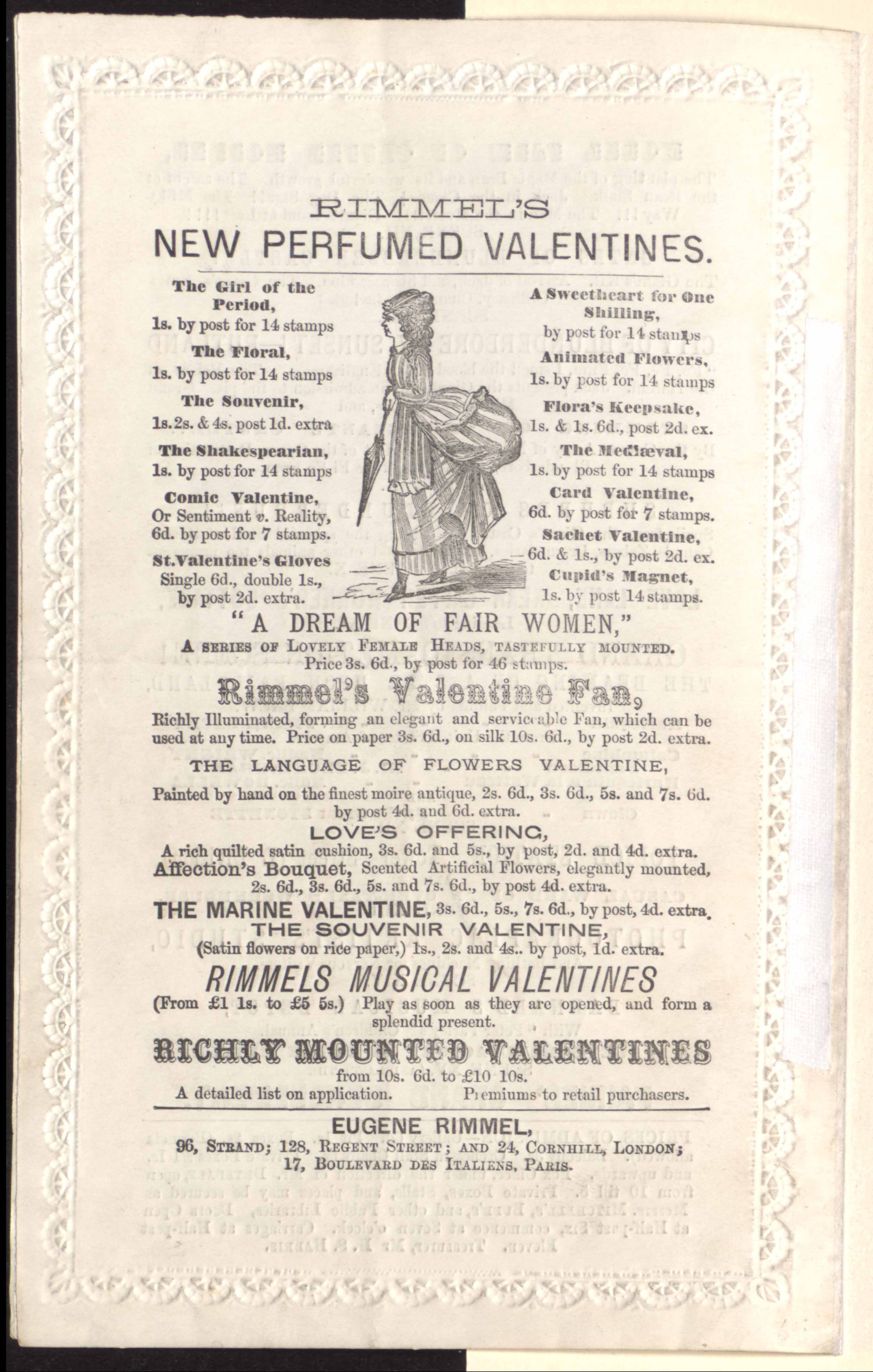 valentine advertising from Astley's programme, Boxing Night [1869]