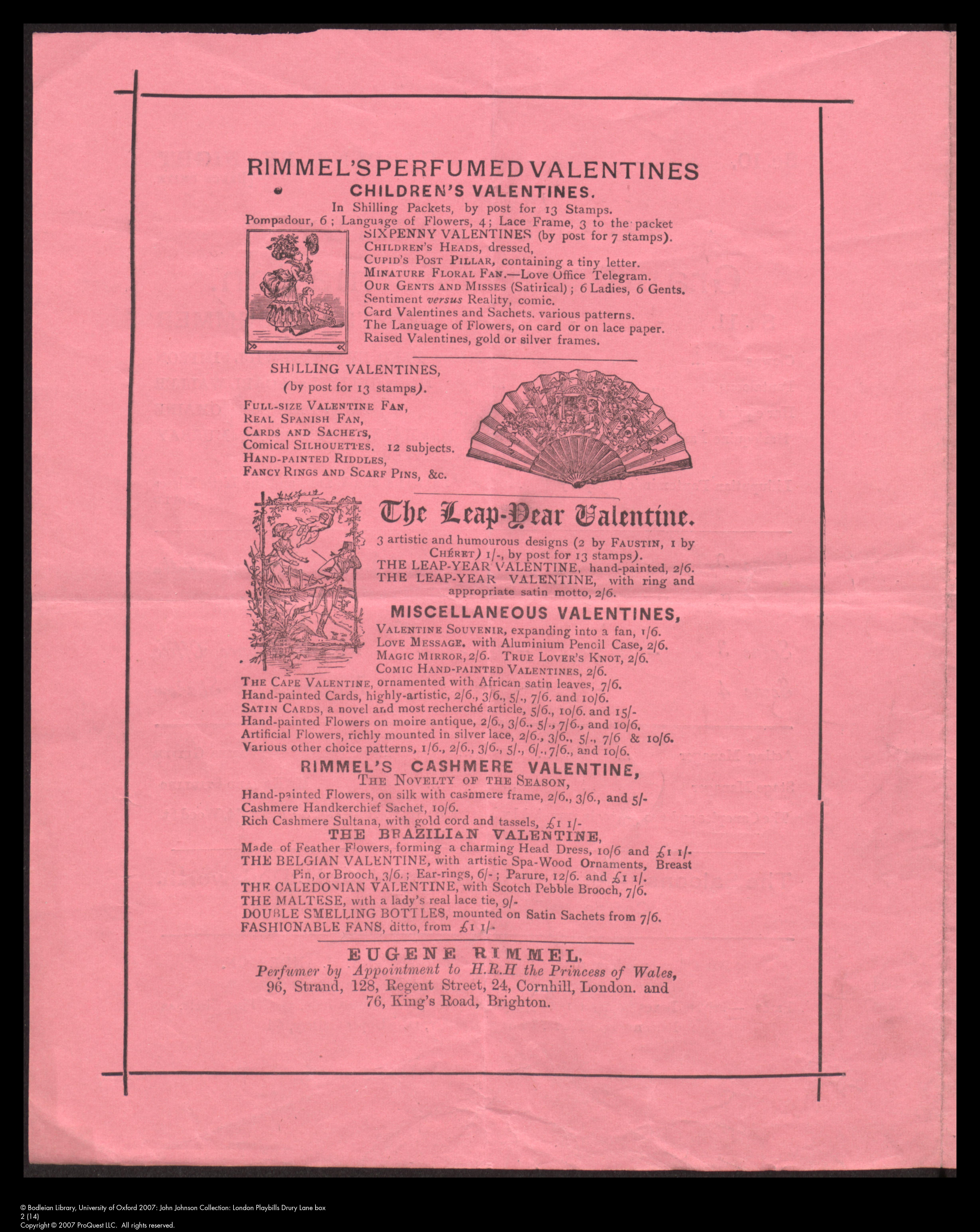 Valentine advertisement from Drury Lane Theatre programme, 1879