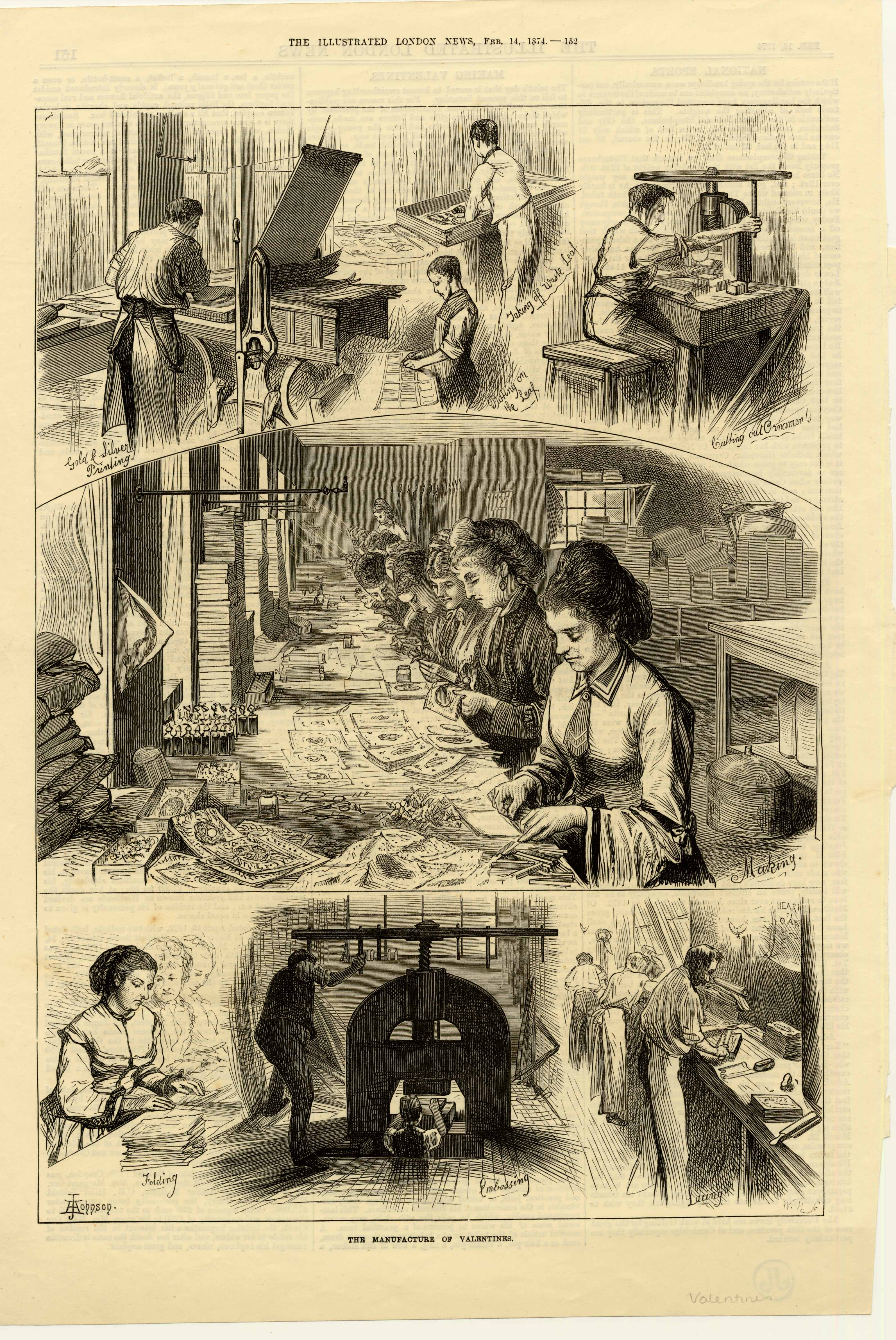 The Manufacture of Valentines. Illustrated London News 14 Feb 1787.