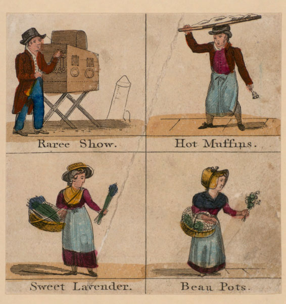 print showing raree show and sellers of hot muffins, sweet lavender and beau pots