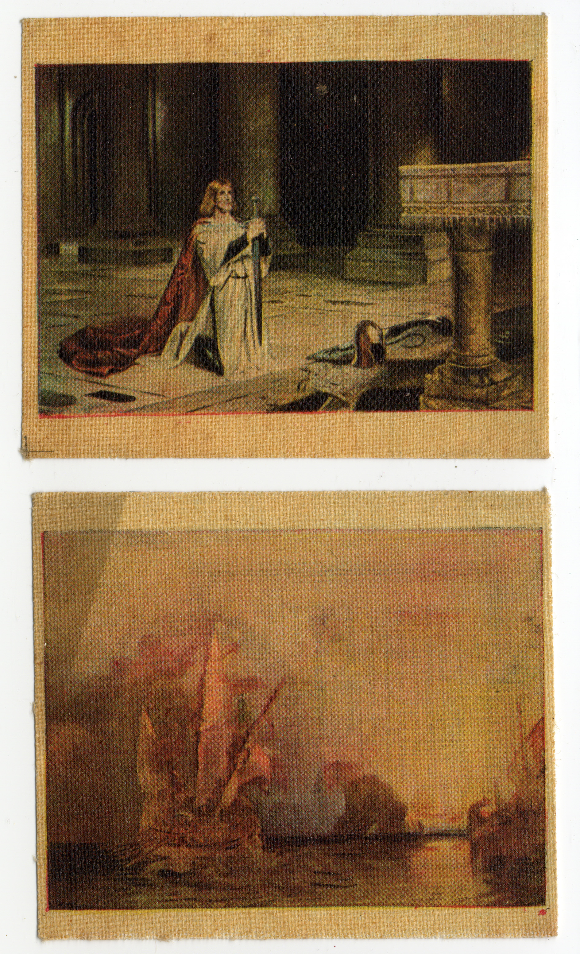 Cigarette Cards: The vigil by John Pettie and Ulysees deriding Polyphemus by JW Turner